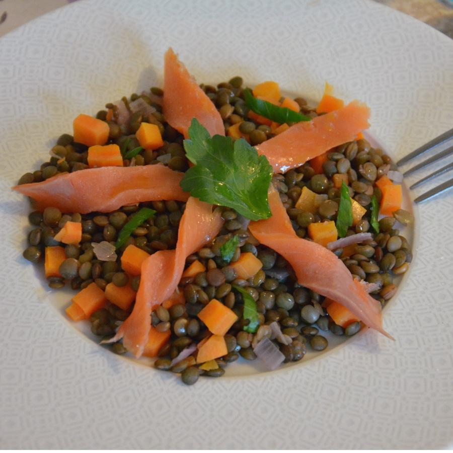 Lentilles vertes Bio au saumon fumé